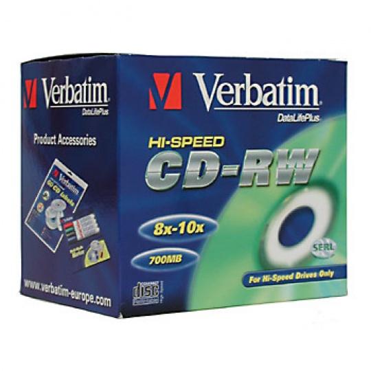 VERBATIM CD-RW(10-Pack)Jewel/High Speed/8x-12x/DLP/700MB