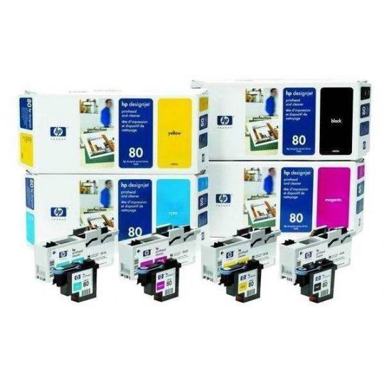 HP 80 Cyan Printhead + Printhead Cleaner, C4821A