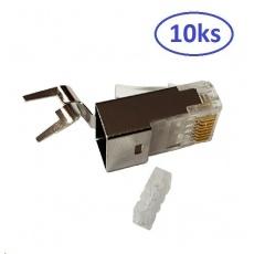 Konektor RJ45 10ks, stíněný pro CAT6A  (kompatibilní s Belden 10GXE01.07500), 8/8, 50um, drát/licna