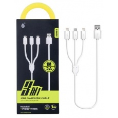 "PLUS nabíjecí kabel AU402 ""3v1"", konektory 1x micro USB a 2x Lightning, bílá"