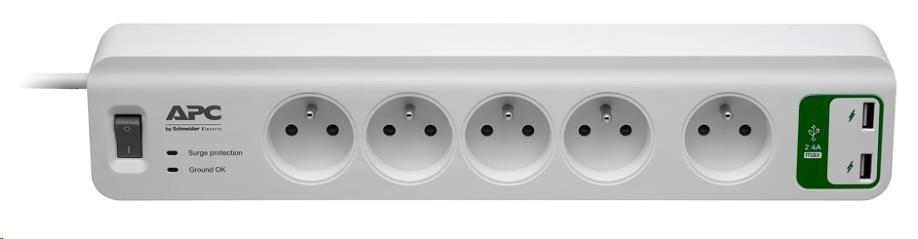 APC Essential SurgeArrest 5 outlets with 5V, 2.4A 2 port USB Charger 230V France, 1.8m