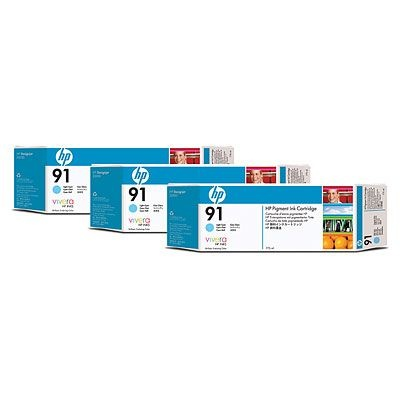 HP 91 Light Cyan DJ Ink Cart, 775 ml, 3-pack, C9486A