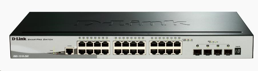 D-Link DGS-1510-28X 28-Port Gigabit Stackable Smart Managed Switch, 24x gigabit RJ45, 4x 10G SFP+