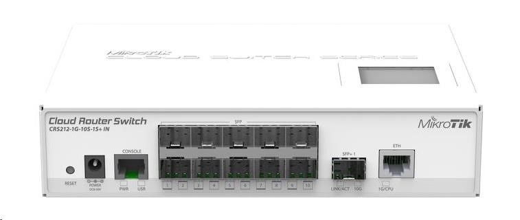 MikroTik Cloud Router Switch CRS212-1G-10S-1S+IN, 400MHz CPU, 64MB RAM, 10xSFP, 1xSFP+, LCD, vč. L5 licence