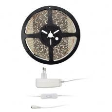Solight LED světelný pás s testrem, 5m, sada s 12V adaptérem, 4,8W/m, IP20, teplá bílá