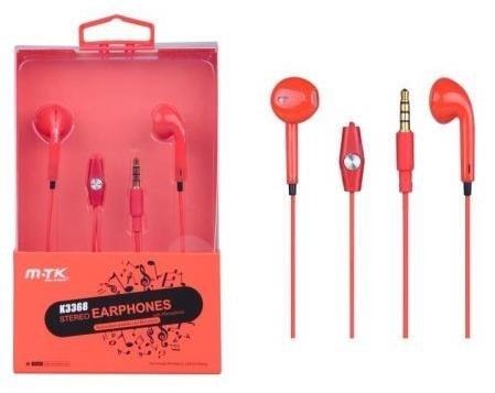 PLUS stereo sluchátka s mikrofonem K3368, 3,5 mm jack, červená