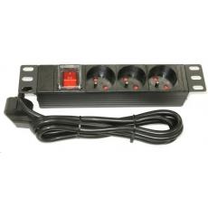 """10"""" rozvodný panel 3x230V, indikátor napětí / vypínač, 1.8m přívod."""