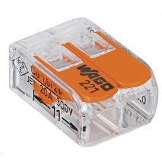 CONRAD Kabelová svorka WAGO 221-412 pro kabel o rozměru 0.14-4 mm2, pólů 2, 1 ks, transparentní, oranžová