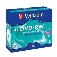 VERBATIM DVD-RW(5-pack)Jewel/4x//DLP/4.7GB