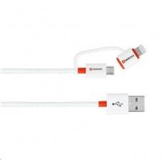 SKROSS USB kabel 2in1 Charge'n Sync DC20A, délka 1m, micro USB a Apple Lightning combo konektor, Apple MFI licence