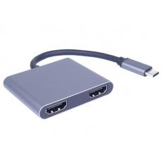 PremiumCord MST adapter USB-C na 2x HDMI, USB3.0, PD, rozlišení 4K a FULL HD 1080p