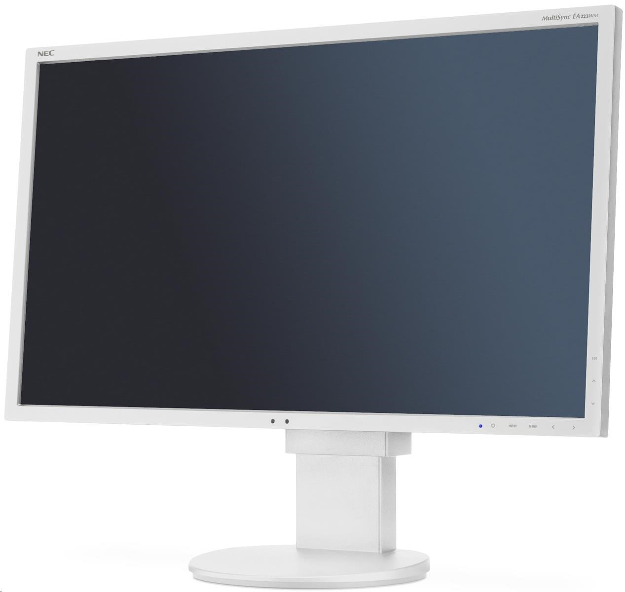 "NEC MT 22"" LCD MuSy EA223WM WHITE W LED -TN,1680x1050/60Hz,5ms ,1000:1,250cd,DVI-D+DP+VGA,audio,USB (1+4)"