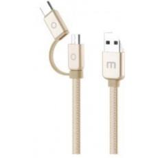 MEIZU datový nabíjecí kabel USB - MicroUSB/USB-C, 120 cm, zlatá