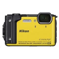 NIKON kompakt Coolpix W300, 16MPix, 5x zoom - žlutý + 2v1 plovoucí popruh