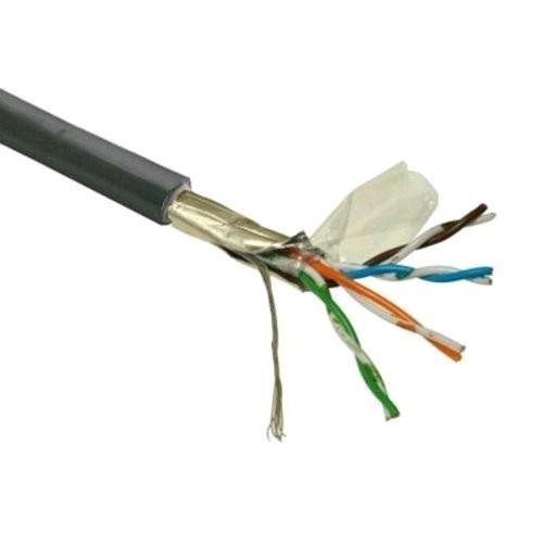 FTP kabel LYNX Cat5E, drát, venkovní PE, černý, 305m