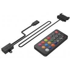 SilentiumPC řídící panel podsvícení Nano-Reset Remote ARGB KIT, 4x3-pin ARGB konektor, černý + dálkový ovladač